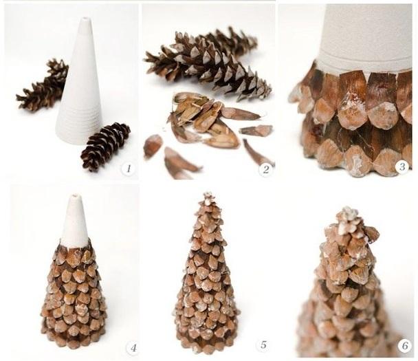 Декоративная елочка из шишек