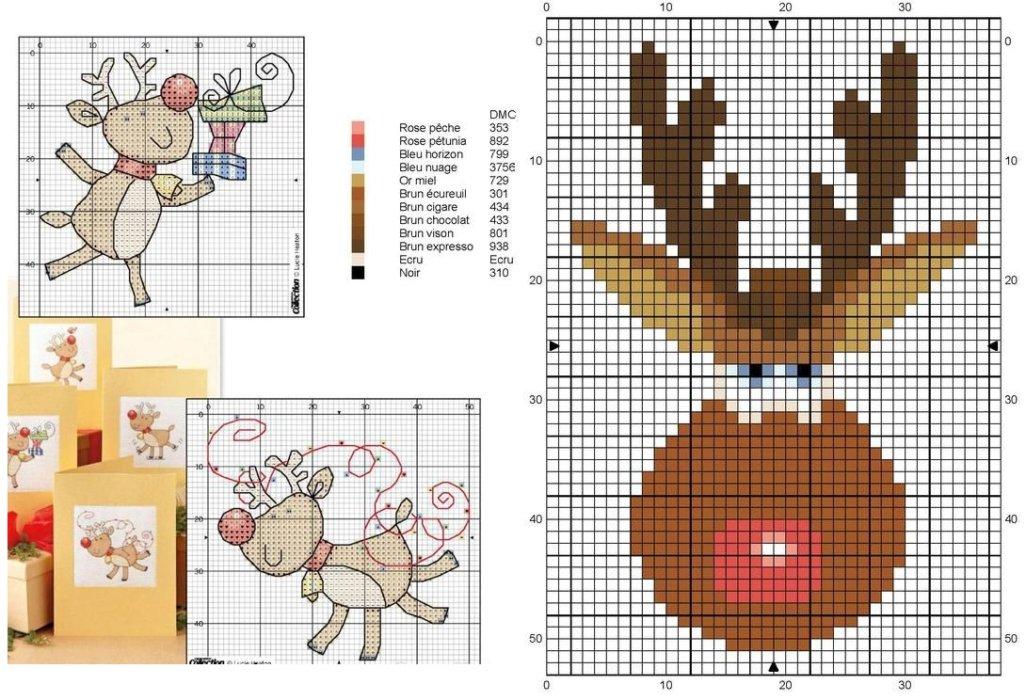 Подборка миниатюрных новогодних схем: козочка, совушки, снеговички и олени