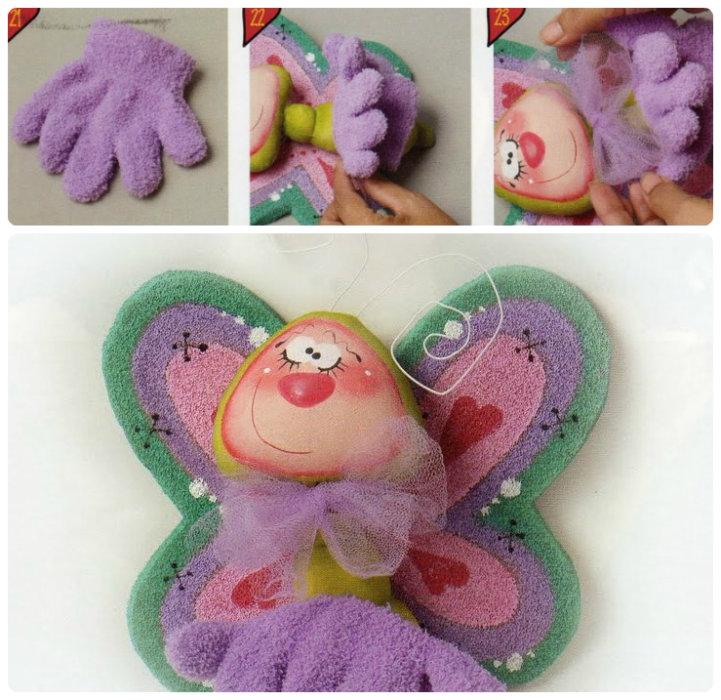 Шитье игрушки – бабочки на детскую перчатку