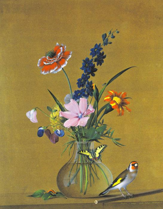 Птичка в цветах 2