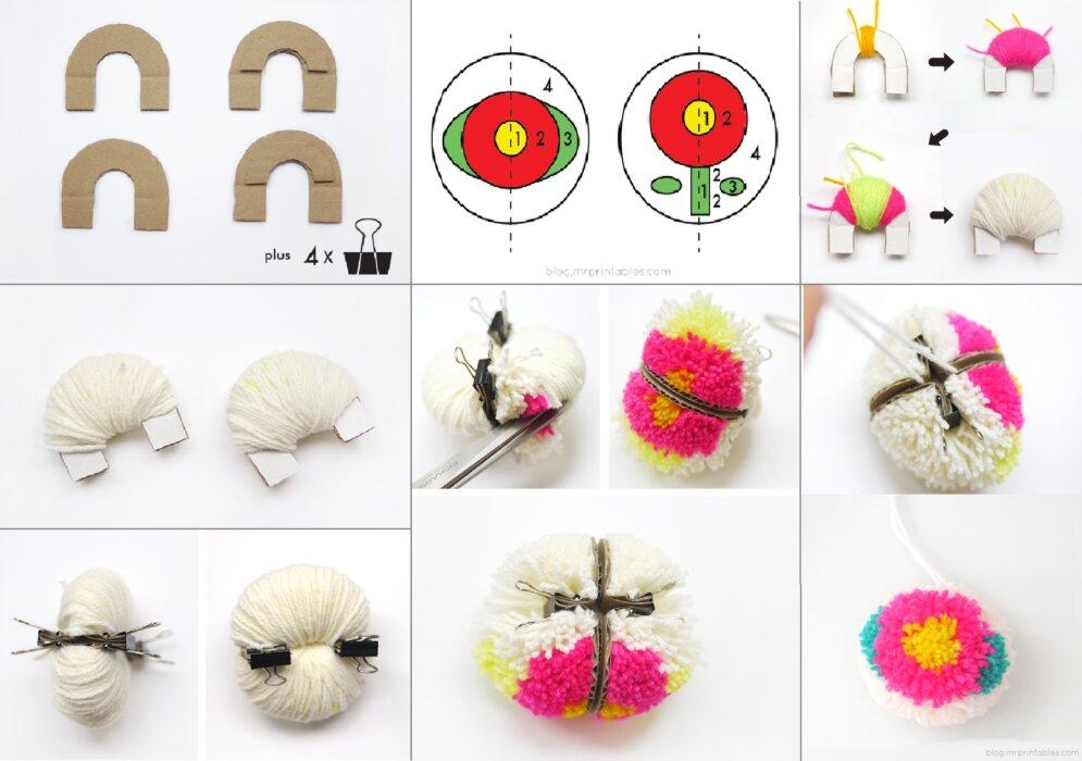 Цветочные помпоны из ниток