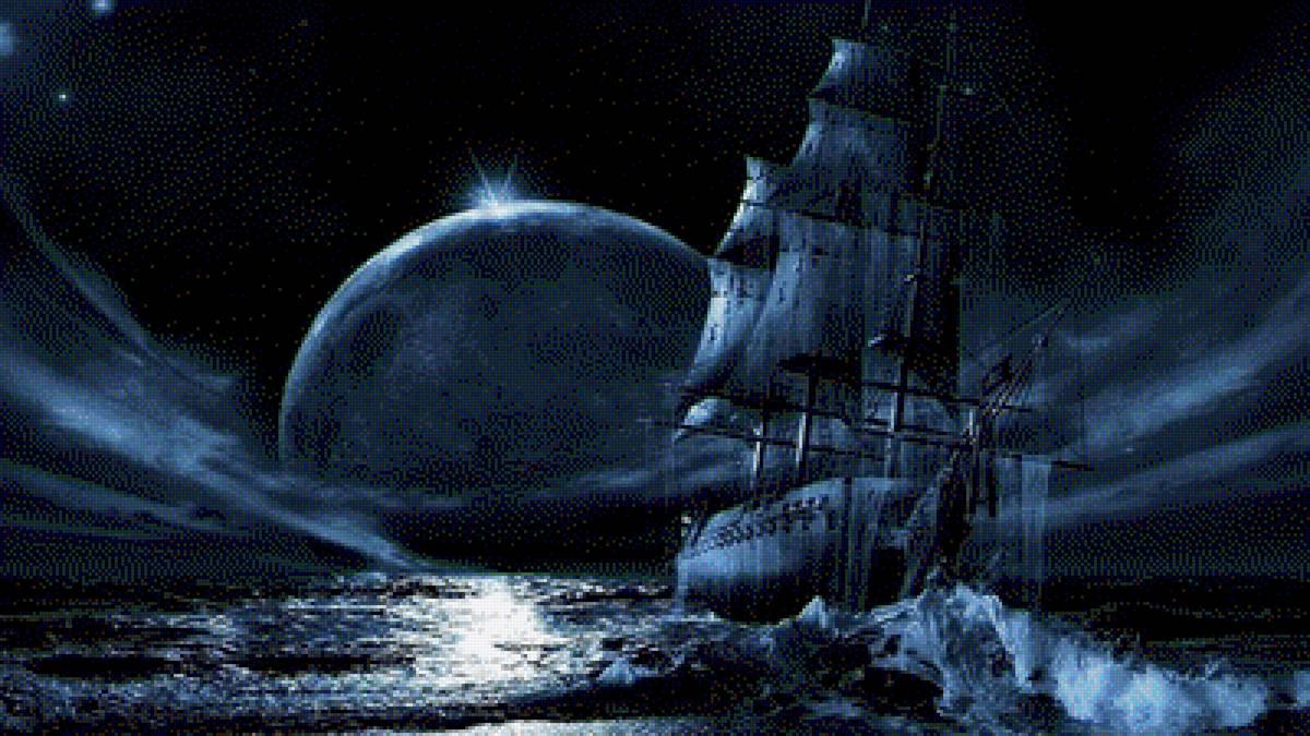 Корабль в ночном море
