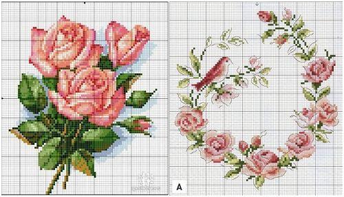 Подушки с вышивкой. Розы, подборка схем для вышивки крестом