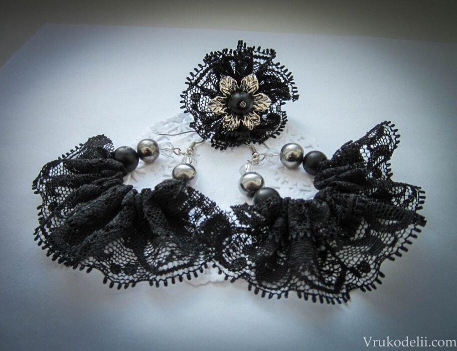 Сережки и кольцо «Черное кружево»