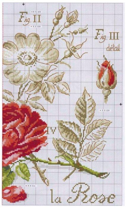 """Вышитая роза из серии """"Ботаника"""""""